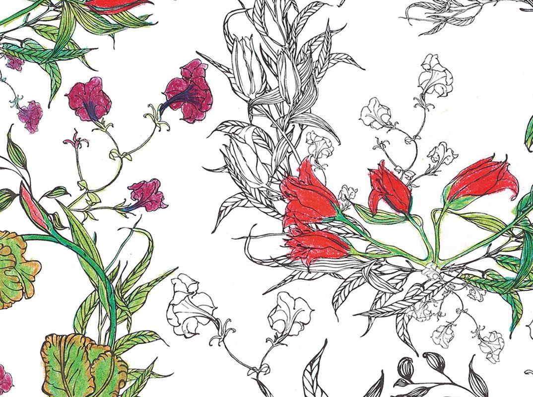 Coloriage Guirlande Fleurs.Coloriage Pour Adultes Motifs Florals