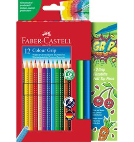 Faber-Castell - Set promotionnel 12 Colour Grip  + 2 Grip Colour Marker