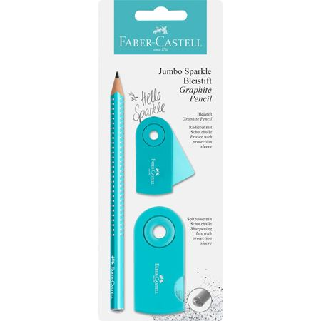 Faber-Castell - Crayons graphite Jumbo Sparkle turquoise nacré