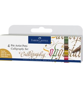 Faber-Castell - Pitt Artist Pen calligraphie India Ink, 4 pc., couleurs