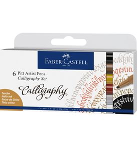 Faber-Castell - Pitt Artist Pen calligraphie India Ink, 6 pc.