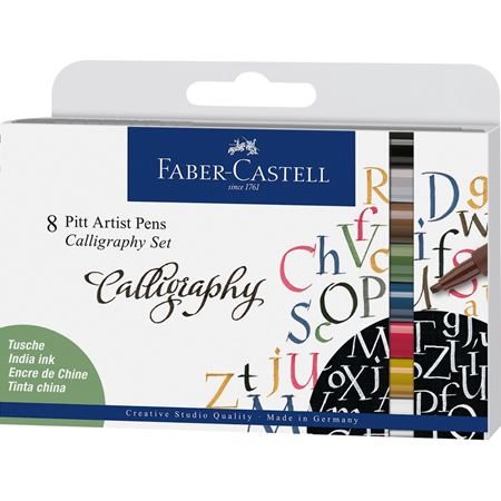 Faber-Castell - Pitt Artist Pen calligraphie India Ink, 8 pc.