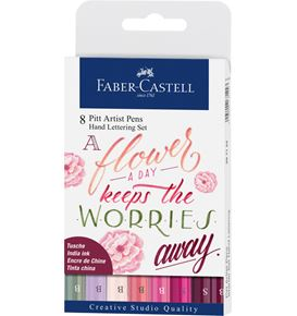 Faber-Castell - Pitt Artist Pen Letterage manuel India Ink, 8 pc, rose