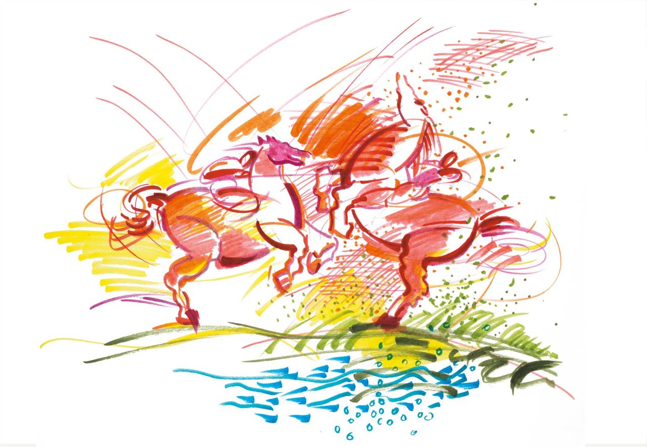 fighting knights drawn with colourful PITT artist pens