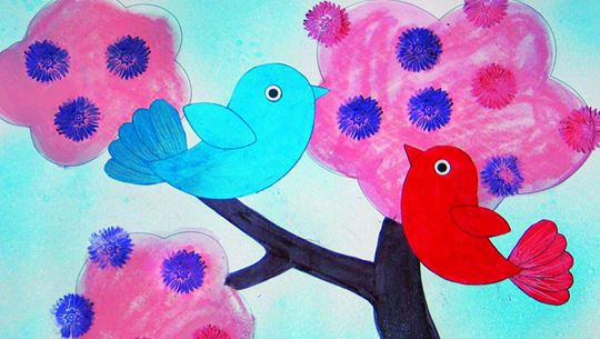 Gelatos - water soluble crayons - Tutorial birds on a tree